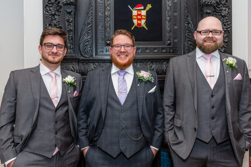 york registry office wedding photography Groomsmen all smiling
