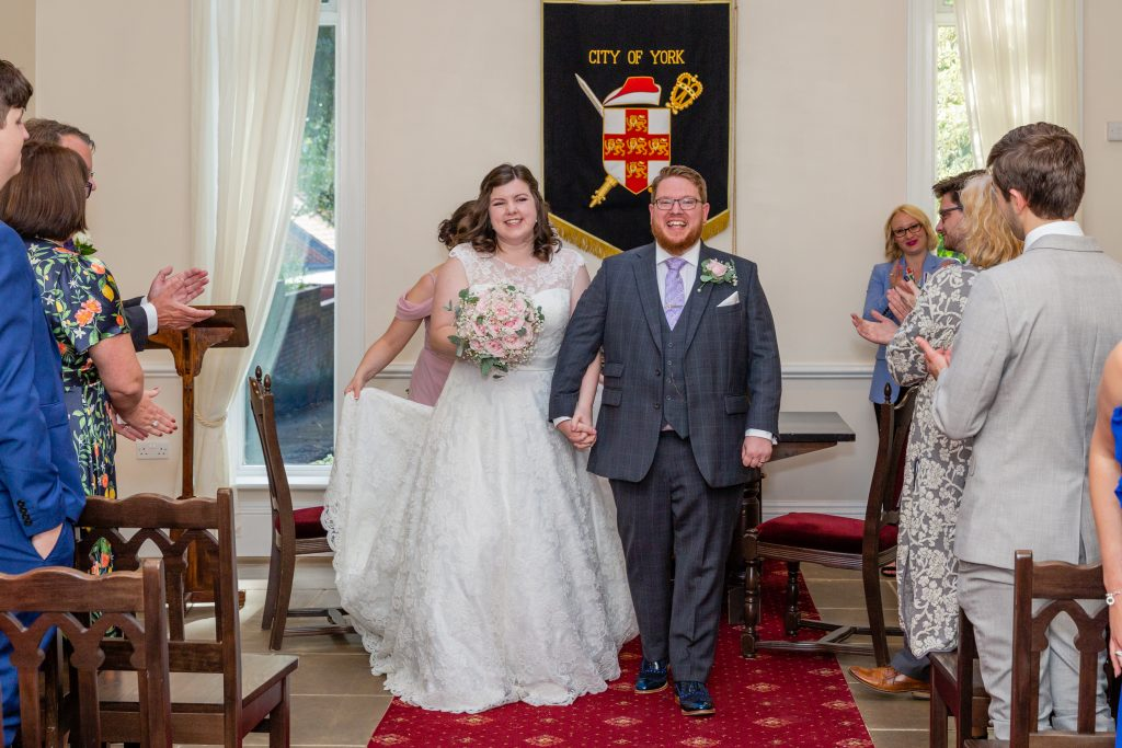 bride and groom just married at the york registry office city centre