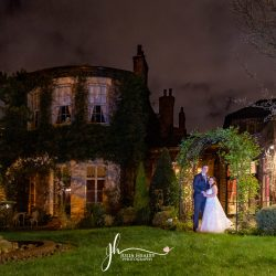 wedding couple at night outside wedding venue