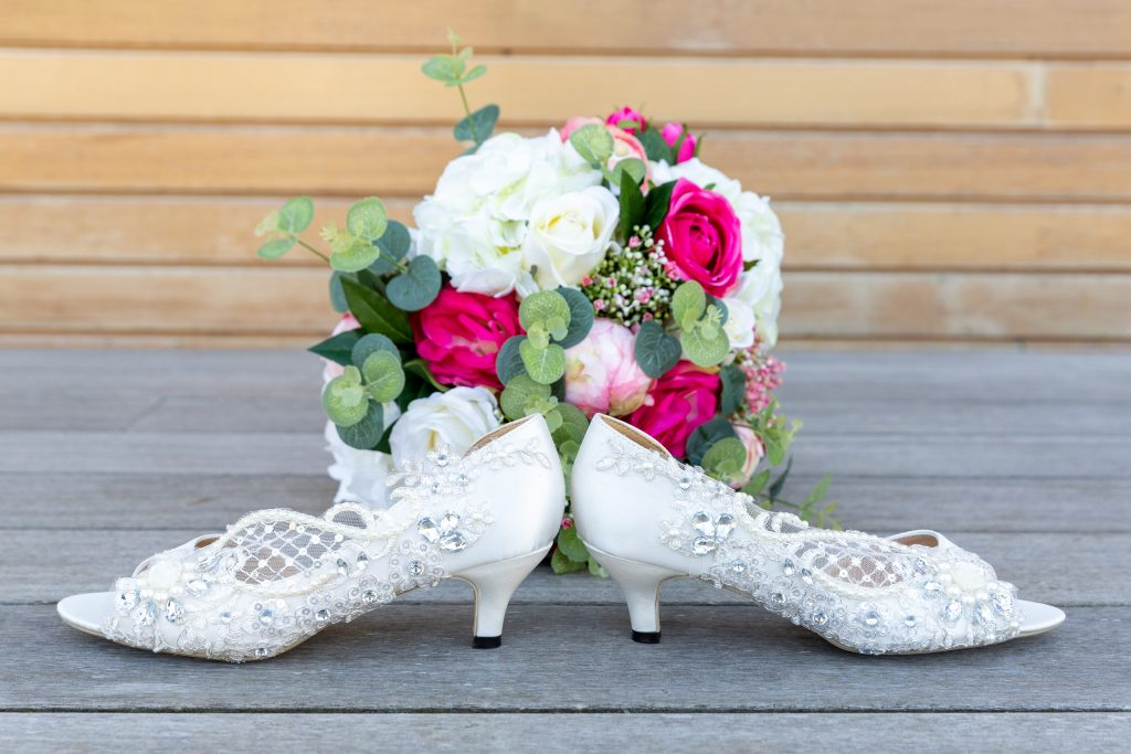 Kilnwick Percy Resort brides shoes and bouquet