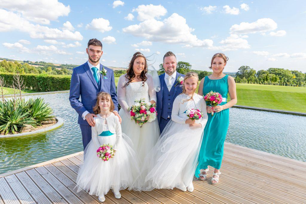 Kilnwick Percy Resort wedding party overlooking scenery
