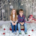 brother and sister christmas mini studio shoot