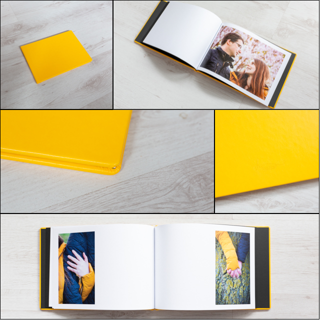 collage of yellow wedding guests book