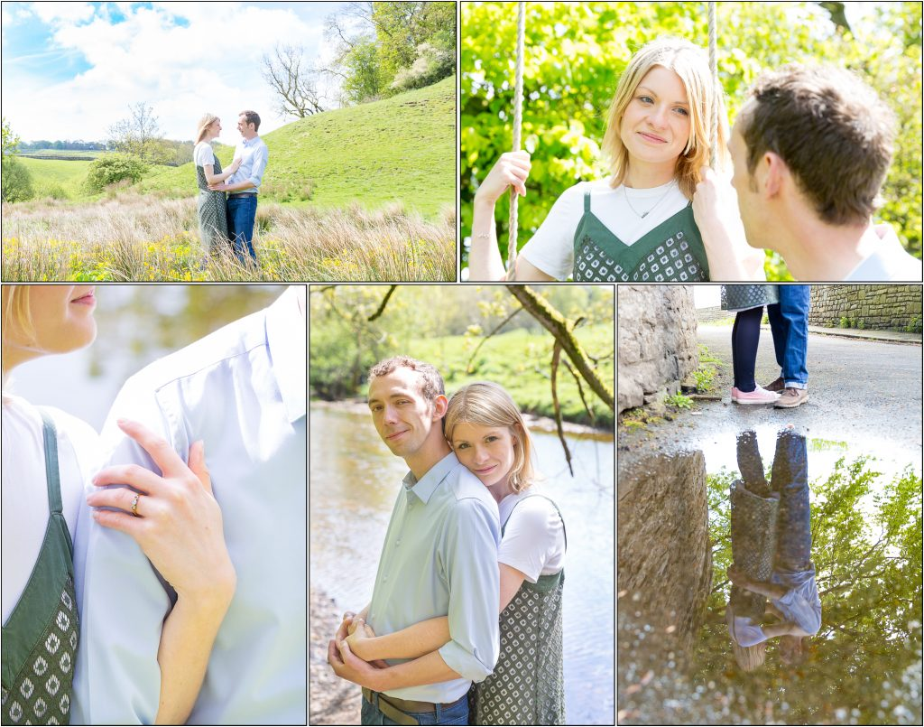 collage of engagement photoshoot in gillingham Yorkshire