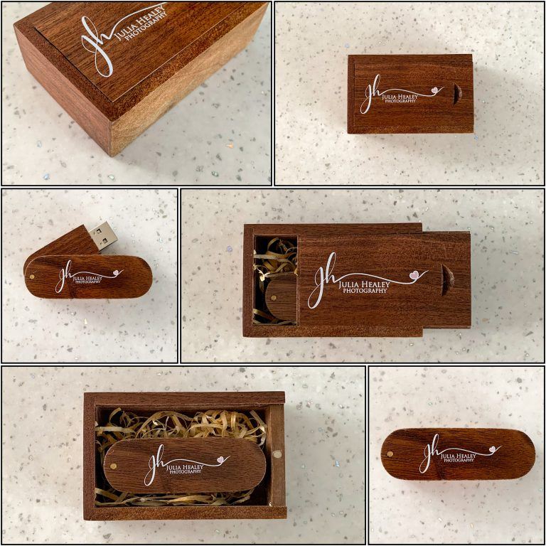 collage of wooden usb with matching wooden box