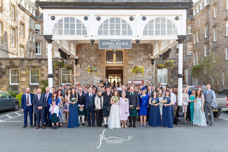 wedding guests outside atholl palace hotel