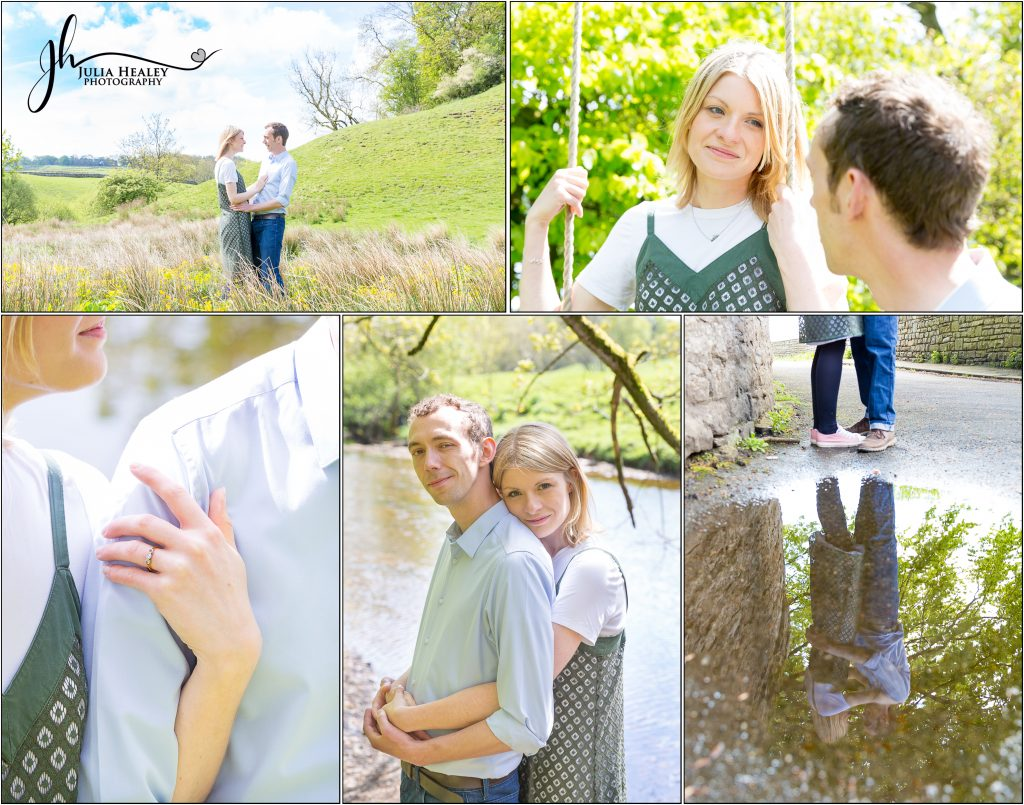 collage of engagement photoshoot images in Yorkshire