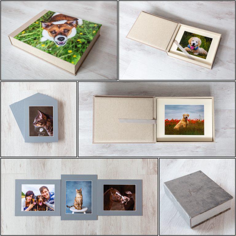 folio box sample with pet pawtraits