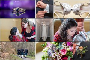 collage of wedding preparations used for blog