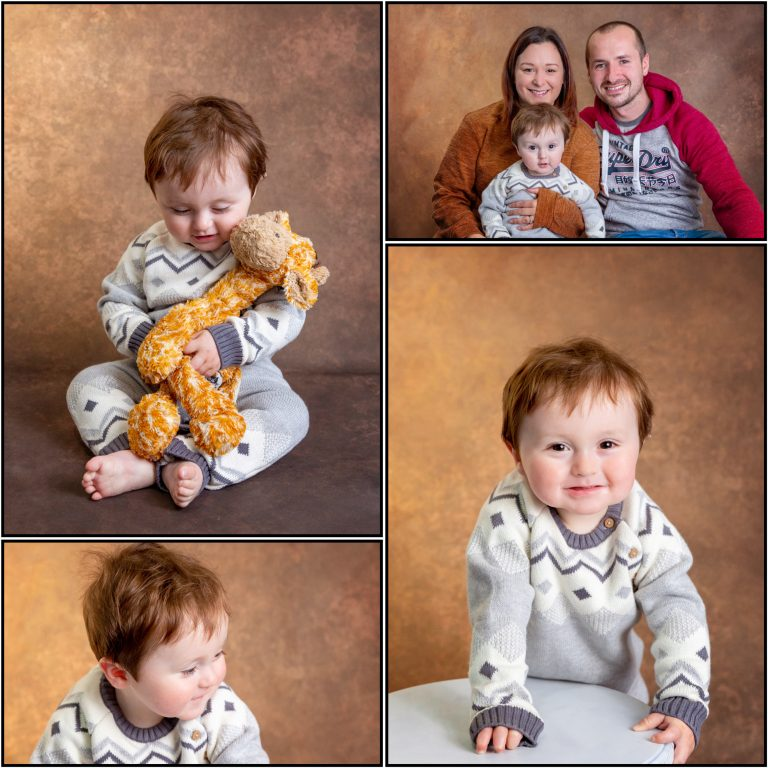 collage of family photoshoot against bronze background