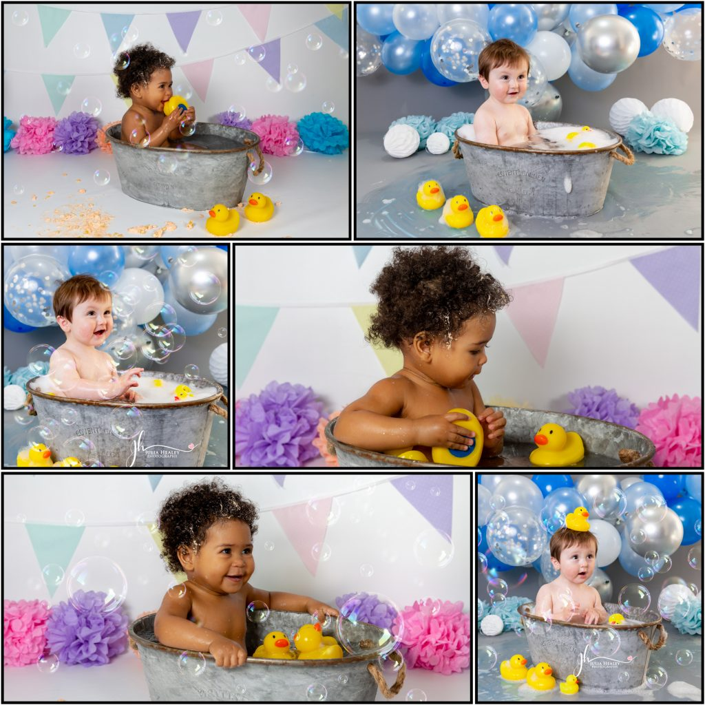 collage of cake smash studio images by julia healey photography