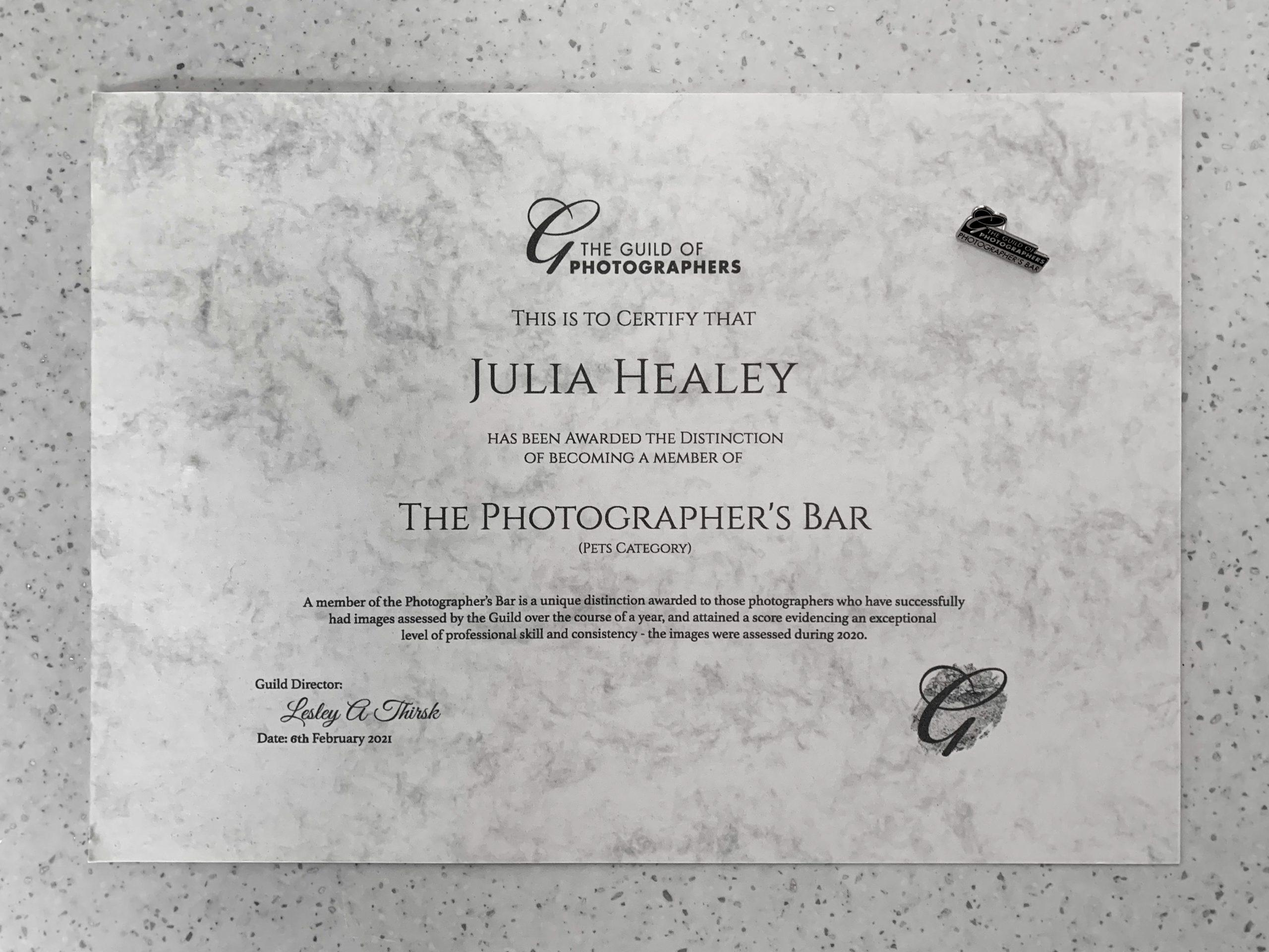 Photographer's Bar Distinction Award