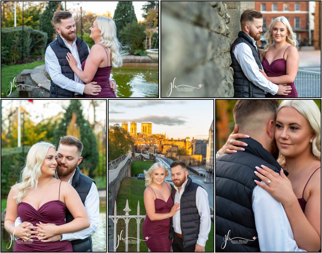 collage of engaged couple round York City Centre