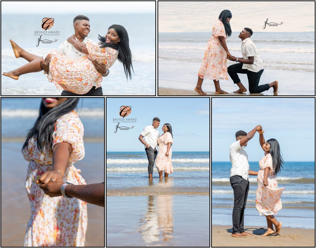 collage from an engagement photoshoot on the beach